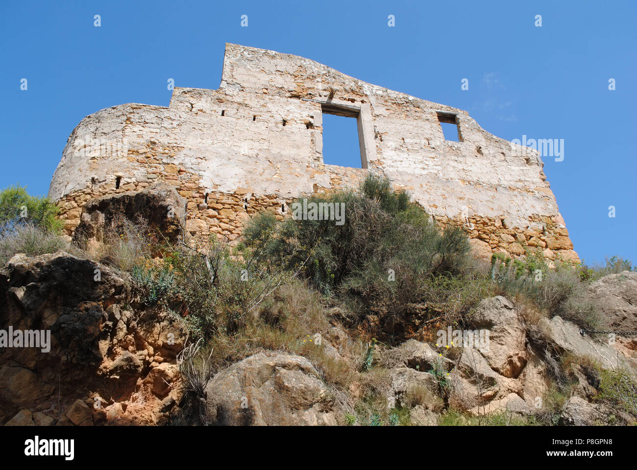 The wall of Camarasa Castle. - Stock Image