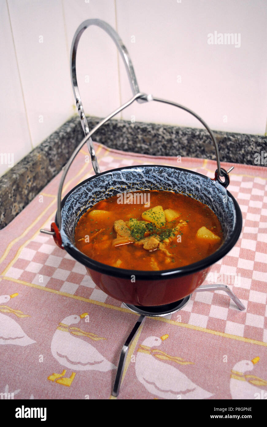 Traditional Hungarian Goulash Soup Served In A Miniature Cauldron Stock Photo Alamy