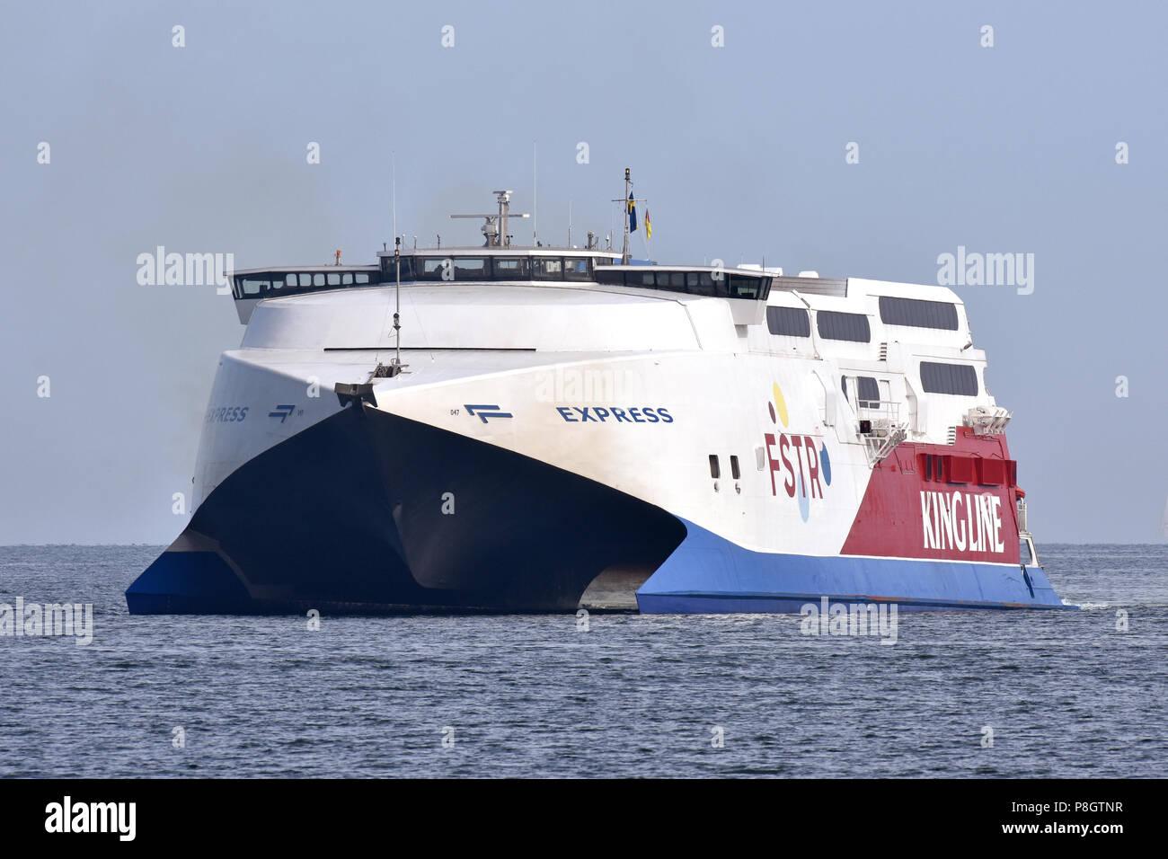 Fast ferry Express inbound Kiel, bound for Mediterranean Stock Photo