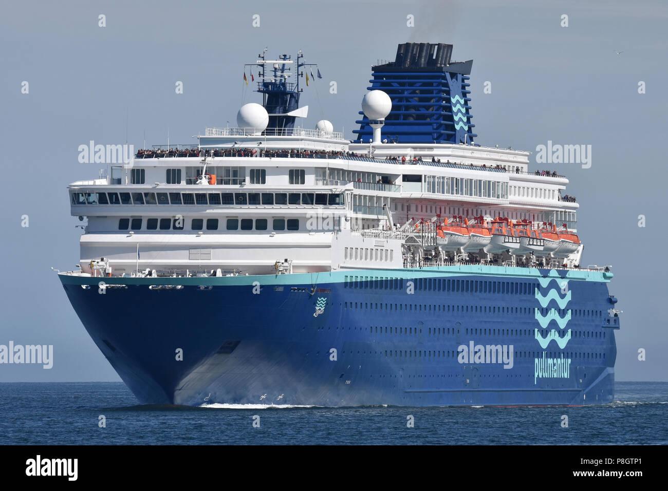 Pullmantur's Zenith inbound for Kiel Stock Photo