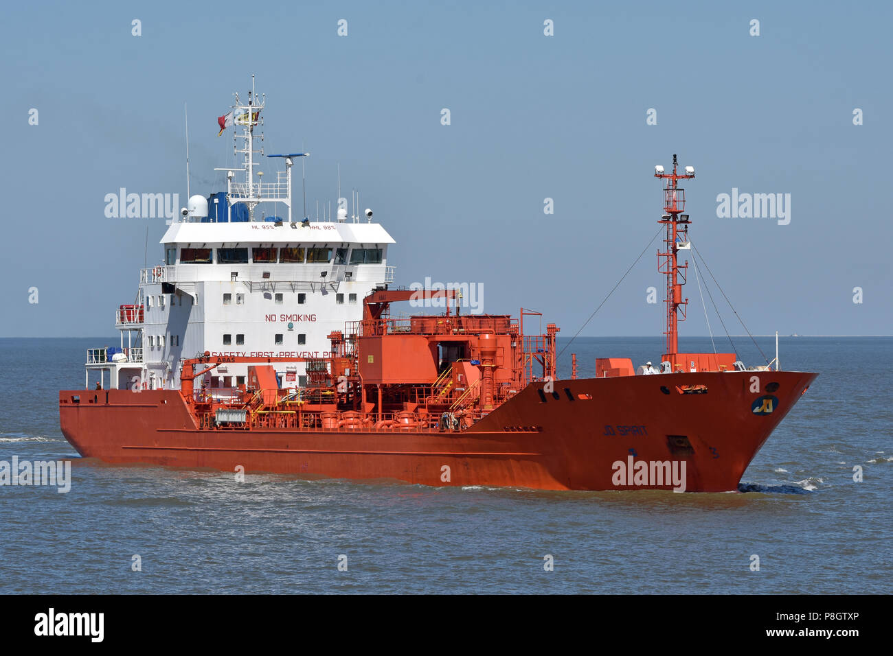 Jo Spirit entering Cuxhaven to discharge a load of Bacardi-alcohol Stock Photo