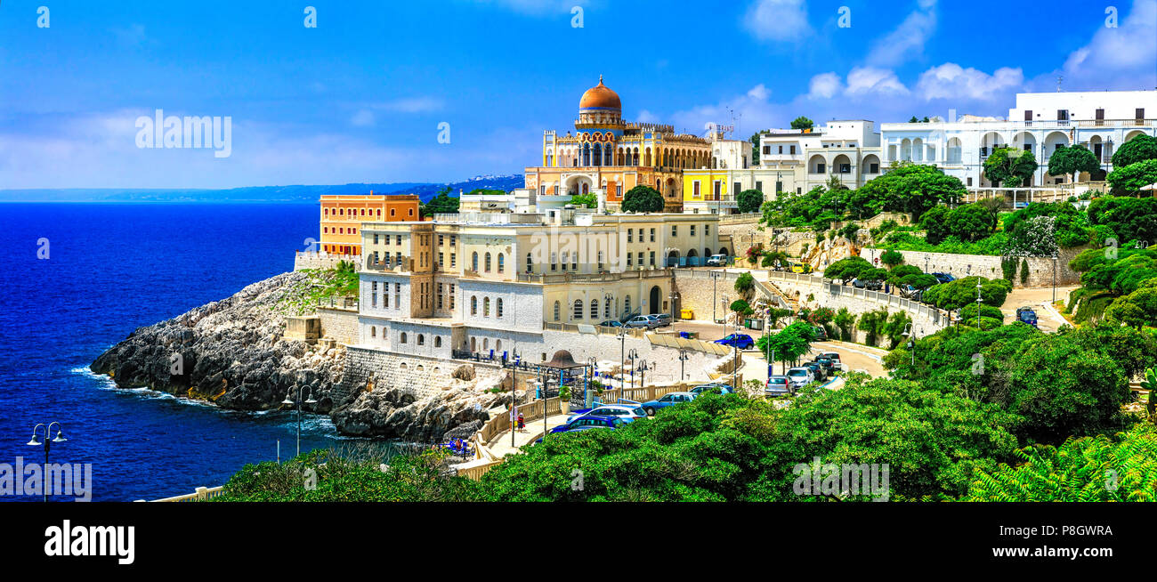Beautiful Santa Cesarea Terme,panoramic view with colorful houses and sea,Puglia,Italy. - Stock Image
