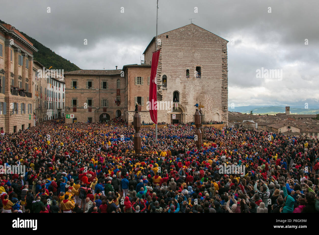 a53cda81 GUBBIO, ITALY - MAY 15, 2018: The famous festa dei ceri with many