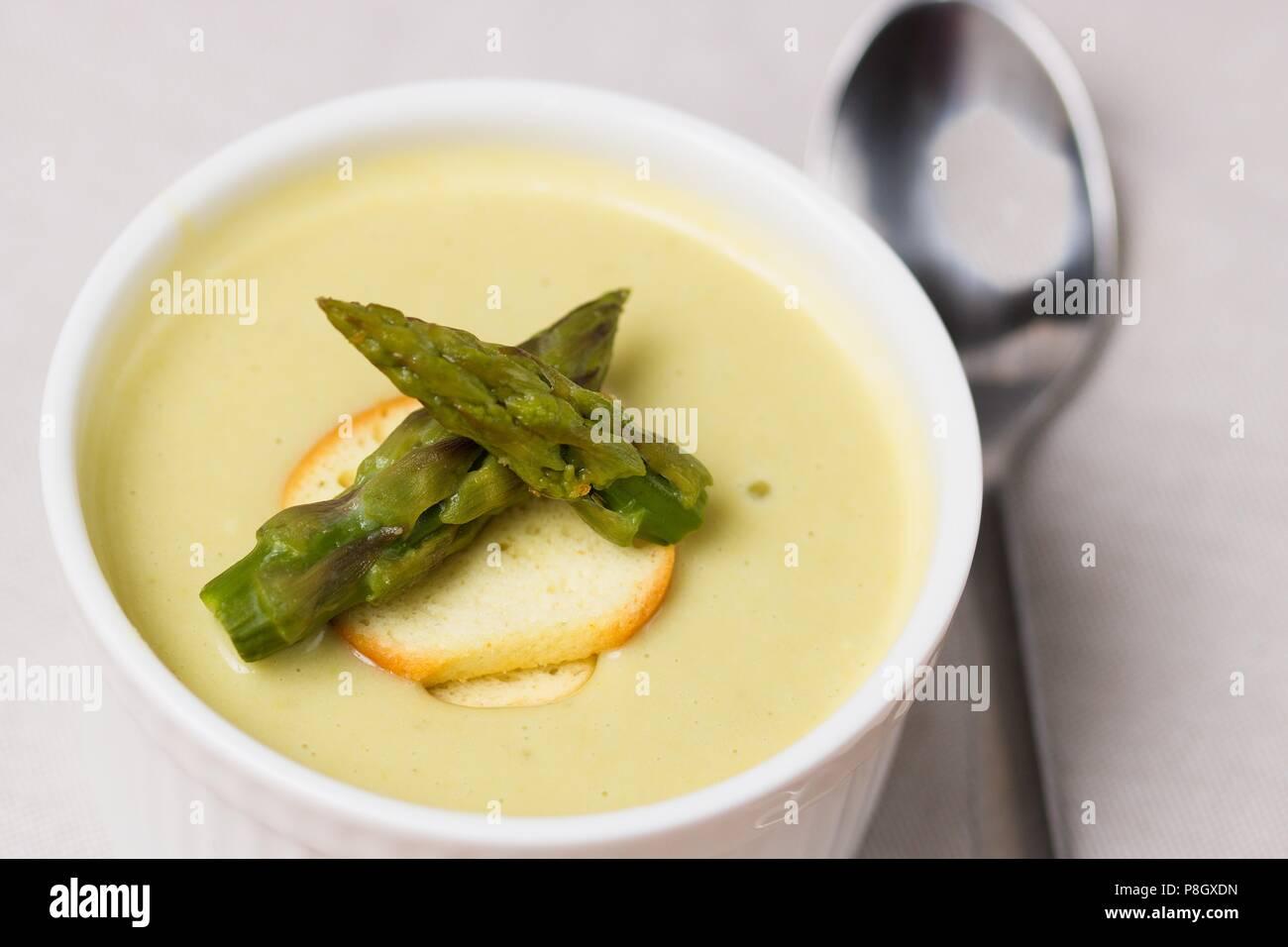 Asparagus Soup In Soup Bowl Stock Photos   Asparagus Soup In Soup ... 4ccf2286c73a