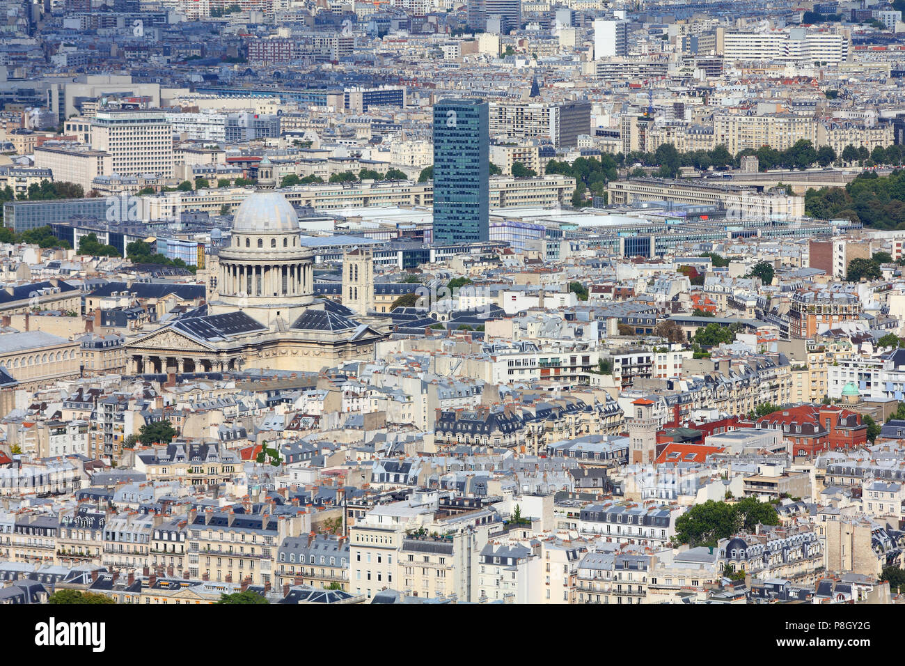 paris france aerial city view with pantheon church stock photo