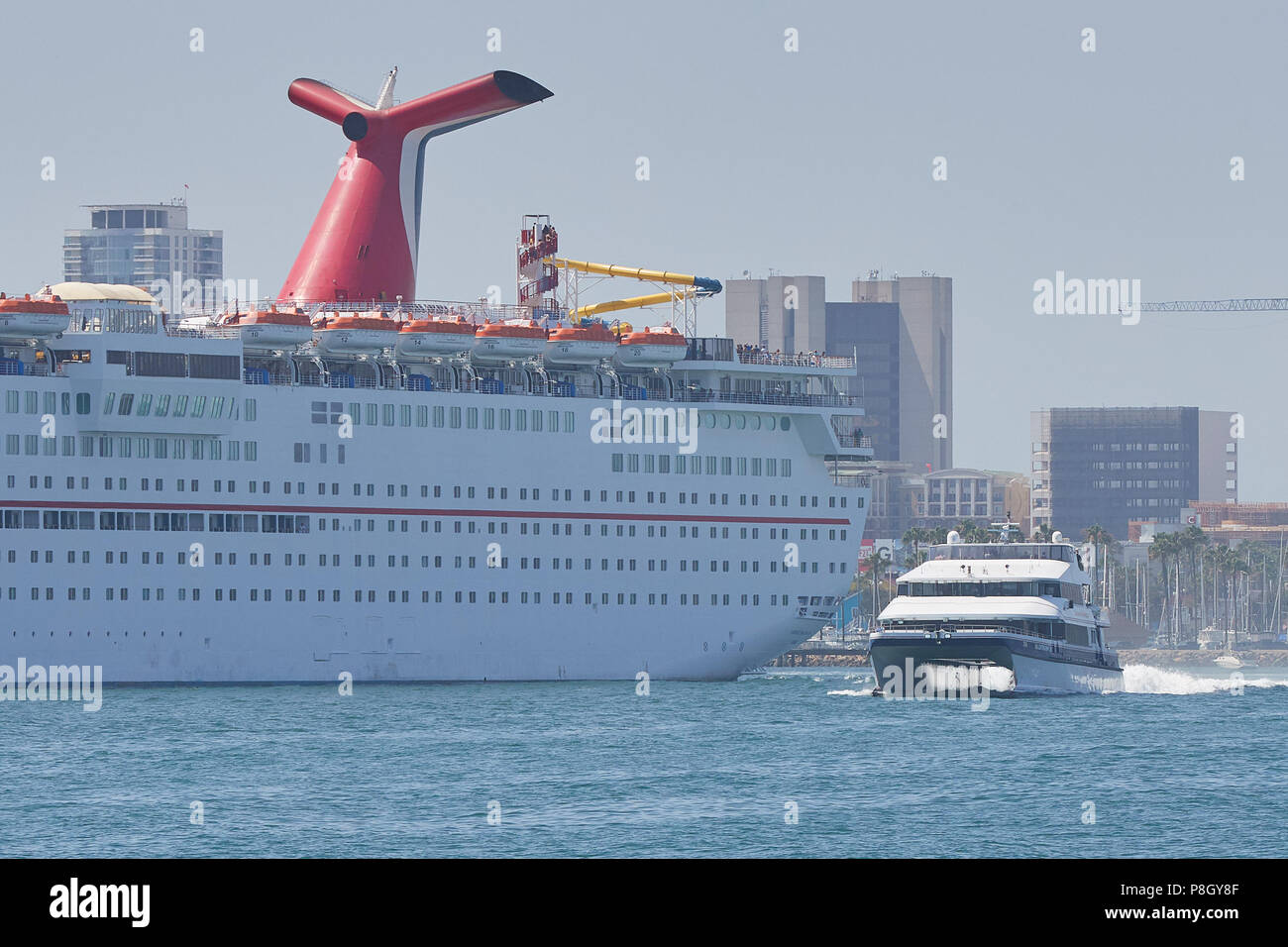 catalina express seacat catalina jet passes the carnival
