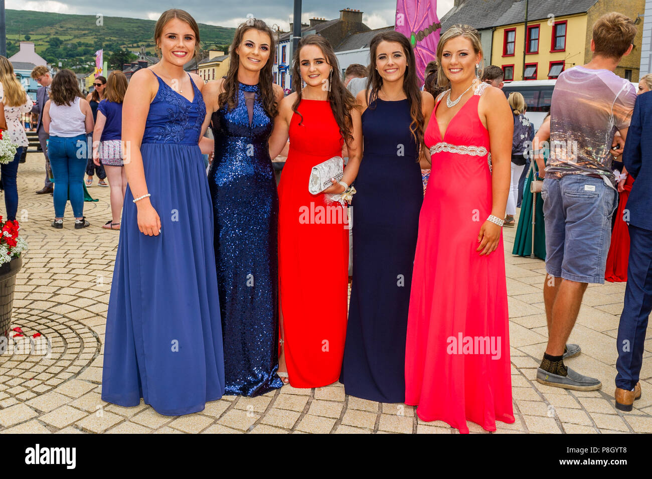 Bantry, Ireland. 11th July, 2018. Coláiste Pobail Bheanntraí students Aoife Murnane, Fiona Barry, Nora O'Shea, Heidi Stock and Clodagh Lynch, all from Bantry, are pictured before travelling to the Rochestown Park Hotel in Cork city for their Debs ball. Credit: Andy Gibson/Alamy Live News. - Stock Image