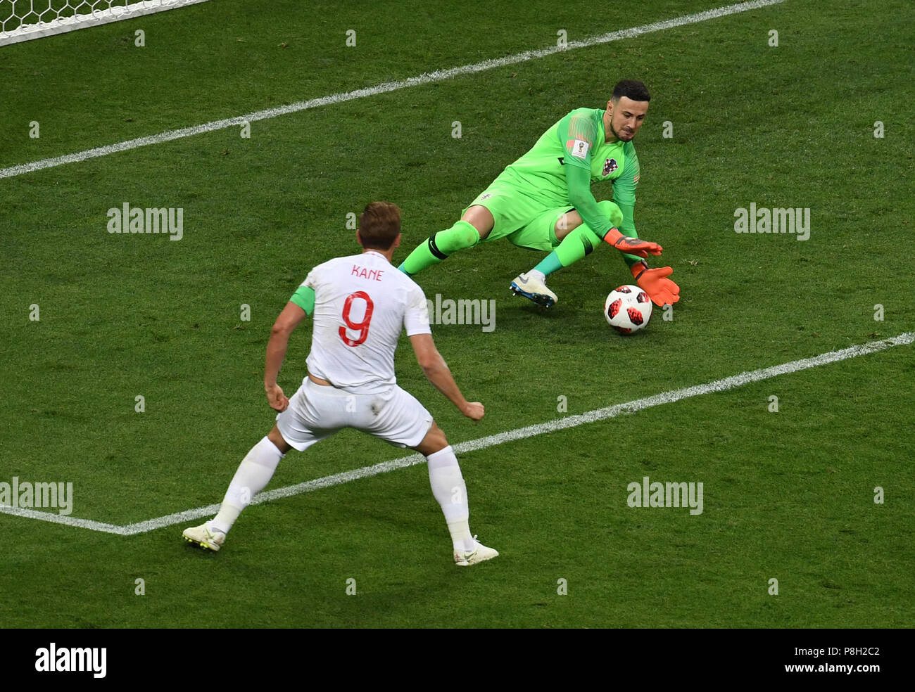 Moscow, Russia. 11th July, 2018. Goalkeepers Danijel Subasic (R) of Croatia defends during the 2018 FIFA World Cup semi-final match between England and Croatia in Moscow, Russia, July 11, 2018. Credit: Wang Yuguo/Xinhua/Alamy Live News - Stock Image