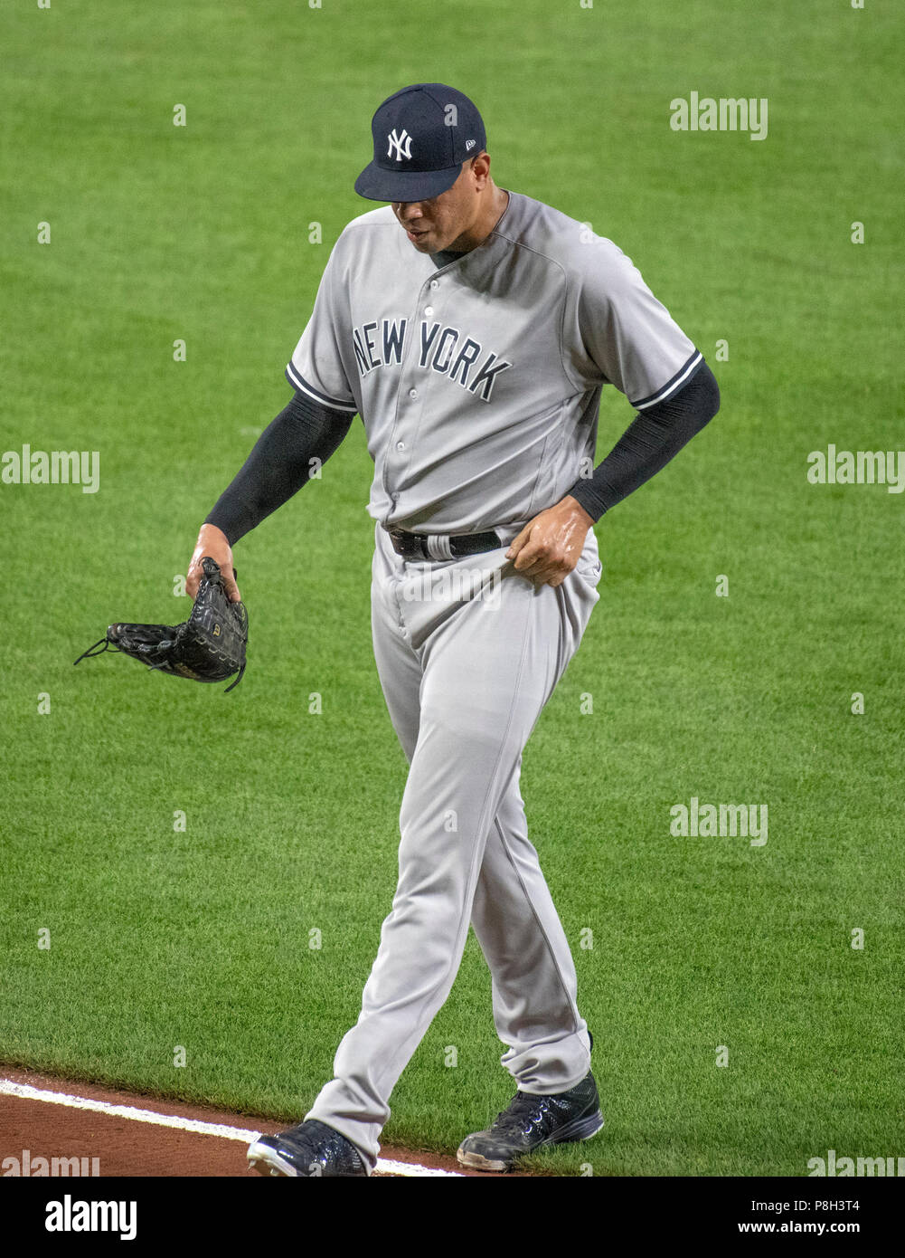 Baltimore, United States Of America. 10th July, 2018. New York Yankees relief pitcher Dellin Betances (68) walks off the field after giving up a walk-off game-winning single to Baltimore Orioles second baseman Jonathan Schoop in the ninth inning at Oriole Park at Camden Yards in Baltimore, MD on Tuesday, July 10, 2018. The Orioles won the game 6 - 5. Credit: Ron Sachs/CNP (RESTRICTION: NO New York or New Jersey Newspapers or newspapers within a 75 mile radius of New York City) | usage worldwide Credit: dpa/Alamy Live News Stock Photo