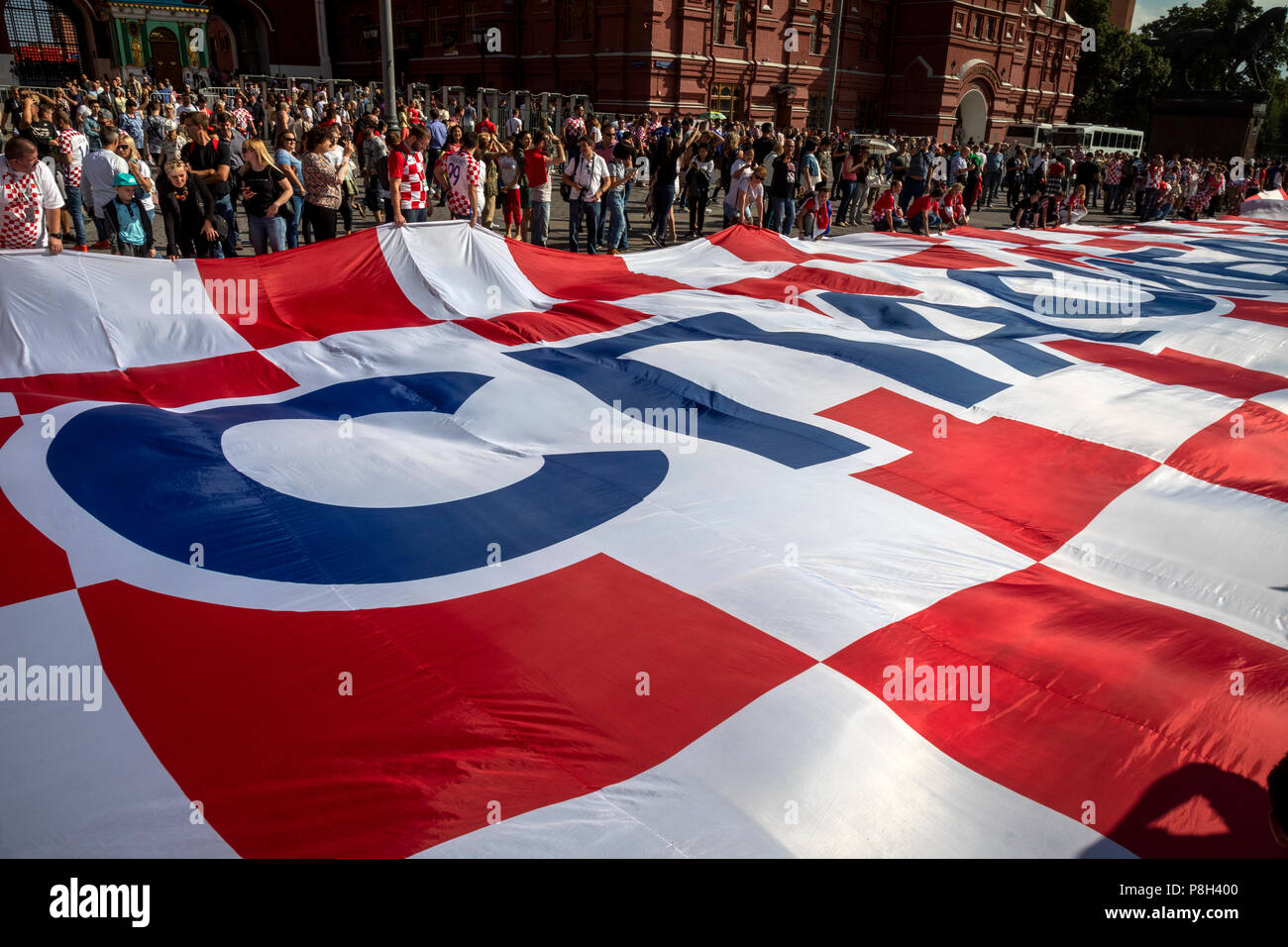 Moscow, Russia. 11th July, 2018. Croatia's fans displayed a 50-meter-long banner in the center of Moscow, which read in Russian 'Thank you, Russia!' during Wordl Cup FIFA 2018 Russia Credit: Nikolay Vinokurov/Alamy Live News - Stock Image