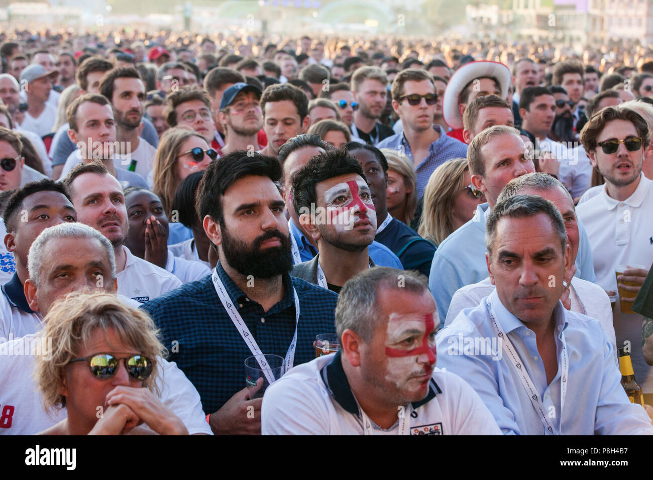 London, UK. 11th July, 2018. 30,000 England fans attend the public screening of the FIFA 2018 World Cup semi-final between England and Croatia in Hyde Park, the largest such screening of a football match since 1996. The event was organised by the Mayor of London and Government in conjunction with the Royal Parks, the Football Association and other agencies. The match provides England with the chance to reach their first World Cup final since 1966. Credit: Mark Kerrison/Alamy Live News Stock Photo