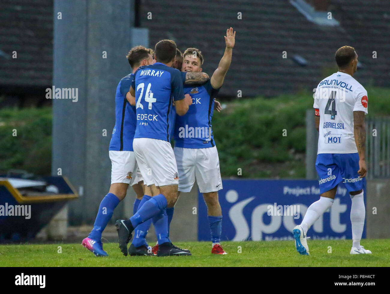 Uefa Europa League First Qualifying Round Glenavon V Molde Josh Daniels Celebrates His Winner For Glenavon Credit David Hunter Alamy Live News