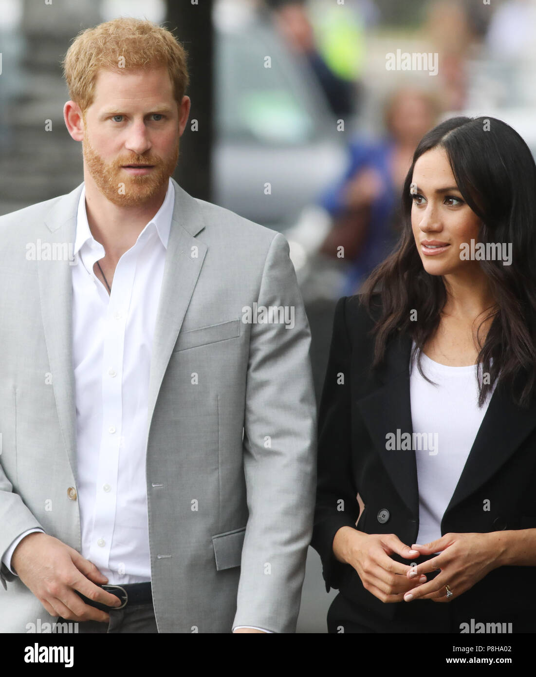 Prince Harry and Meghan Markel visit the Great Famine sculpture, Dublin, Ireland Stock Photo