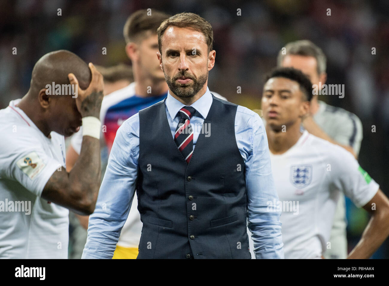 Gareth SOUTHGATE (coach, ENG) is frustrated, frustrated, late-seasoned, disappointed, disappointed, disappointed, disappointed, sad, half figure, half figure, Croatia (CRO) - England (ENG) 2: 1, semi-final, match 62, 11.07. 2018 in Moscow; Football World Cup 2018 in Russia from 14.06. - 15.07.2018.   Usage worldwide Stock Photo