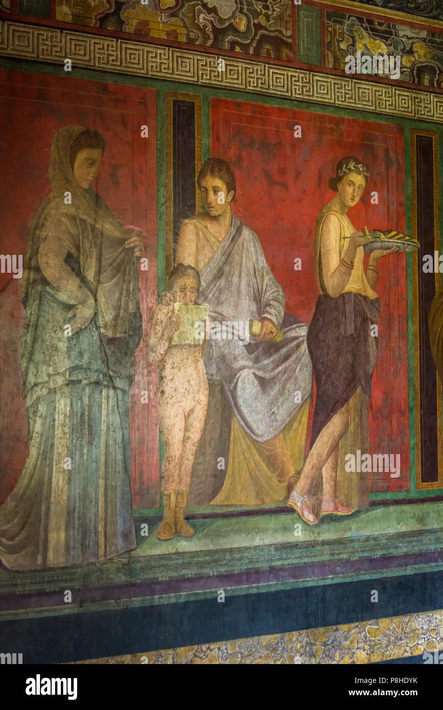 Pompeii, archeological site near Naples, Villa dei Misteri, Villa of the Mysteries, Italy - Stock Image