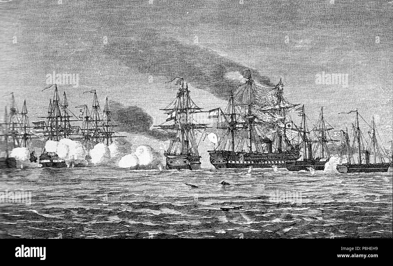 9 Mai 1864 Gefecht bei Helgoland. - Stock Image