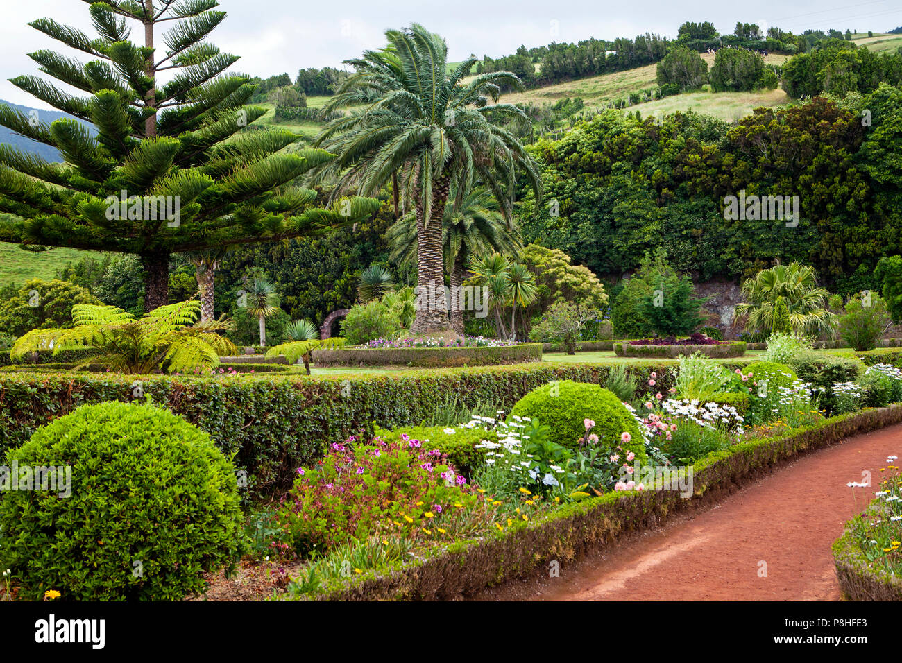 Gardens at viewpoint Ponta do Sossego, Sao Miguel Island, Azores, Portugal - Stock Image