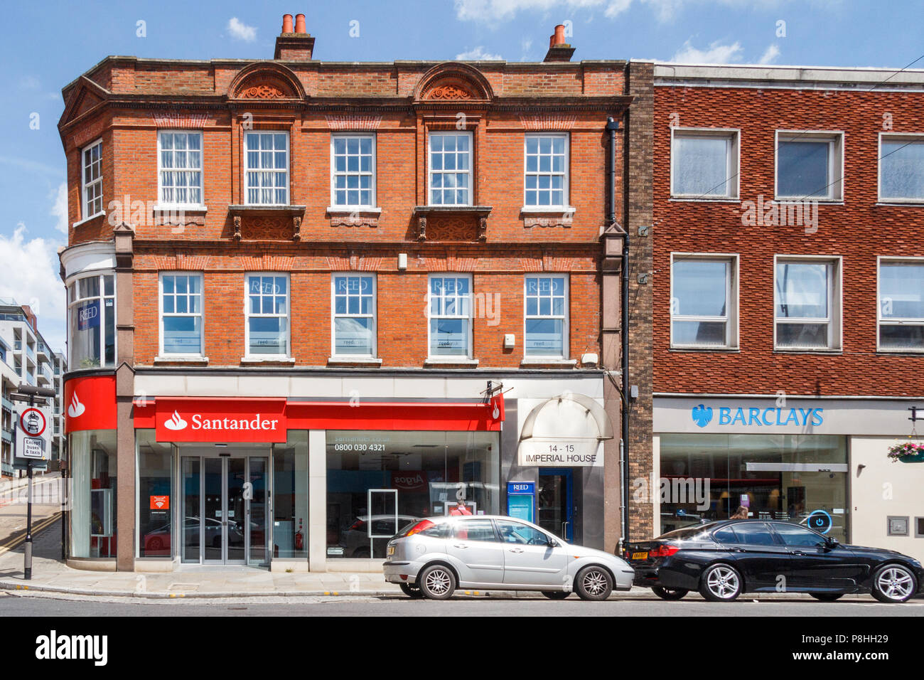 High Wycombe,UK - 3rd June 2018: The Santander and Barclays banks on High Street. Many banks are threatened with closure. - Stock Image