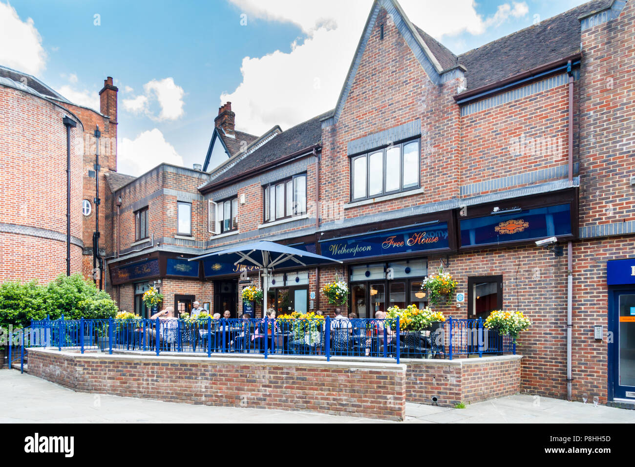 High Wycombe, UK - 3rd June 2018: Rear entrance of the Falcon pub. The pub belongs to the Wetherspoon chain. - Stock Image