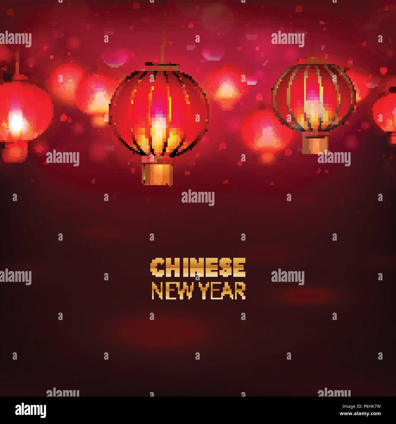 stock vector illustration happy chinese new year background card seamless chinese red paper lantern lights chinese happy new year traditional
