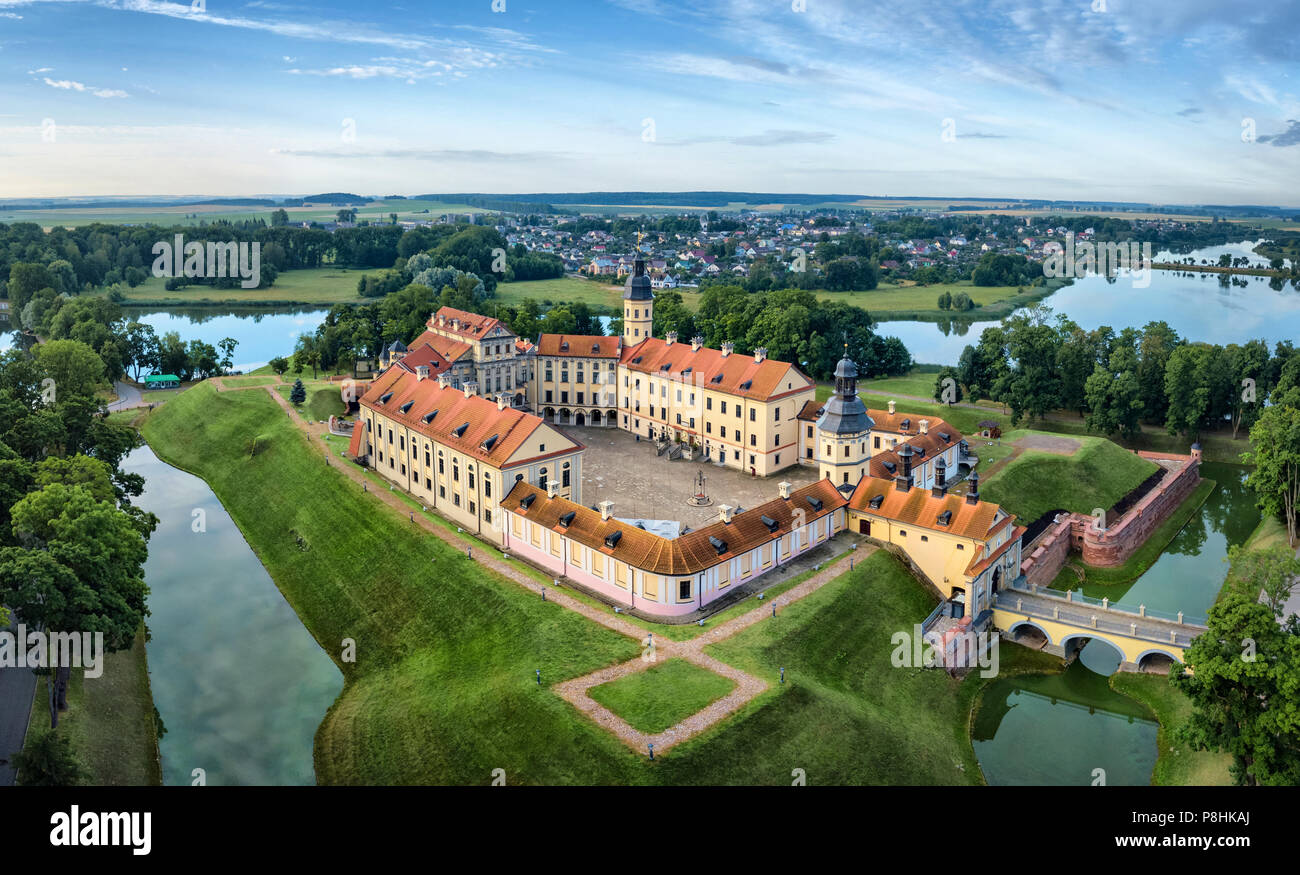 Arial view of Nesvizh Castle, Belarus - Stock Image