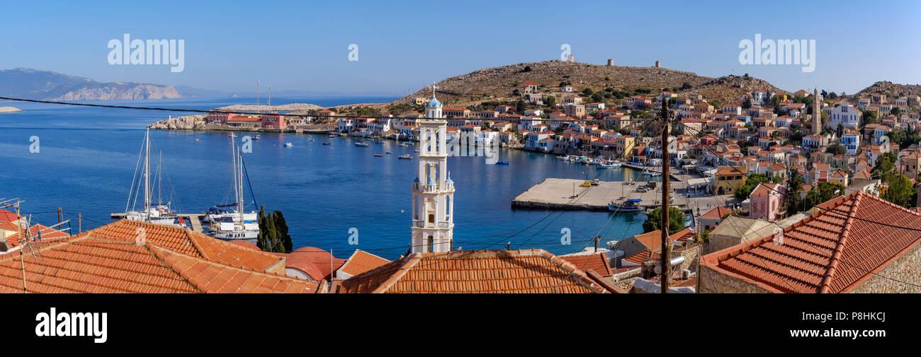 Panoramic image of Halki. - Stock Image