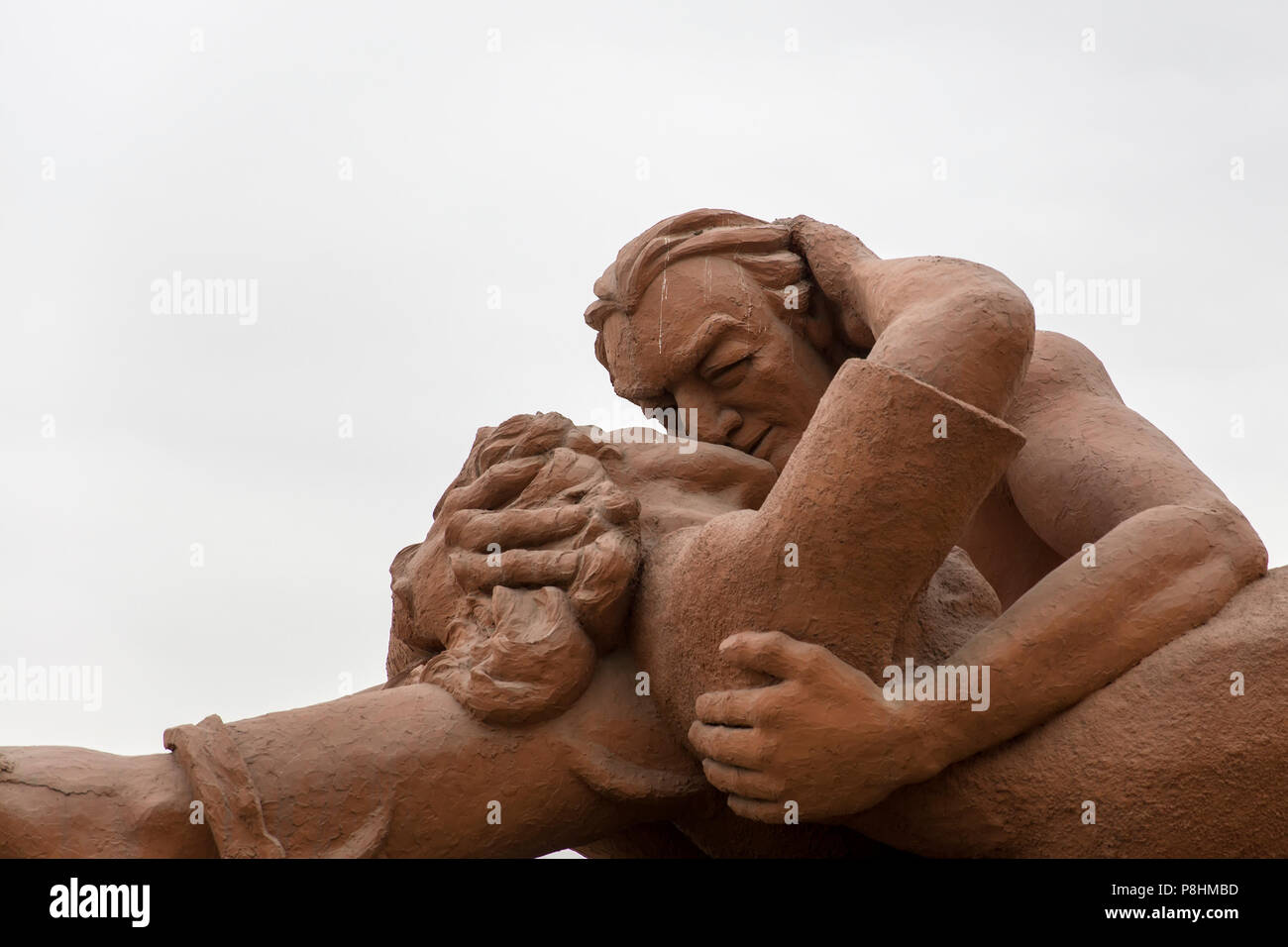 LIMA, PERU - DECEMBER 30, 2017: Detail of sculpture El Beso (The Kiss) in Parque del amor in Lima, Peru. Sculpture was made by Victor Delfin in 1993. Stock Photo