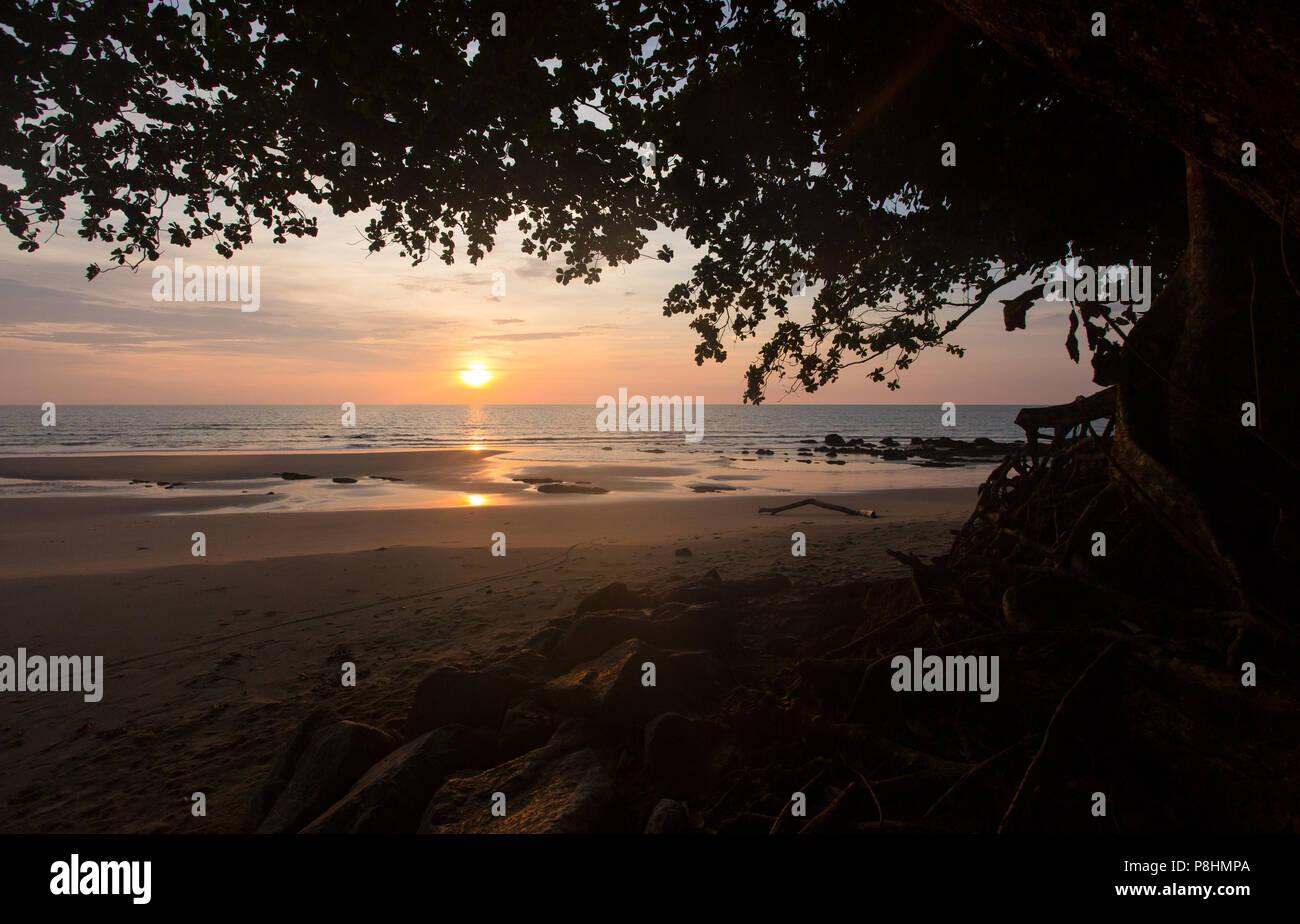 Sunset at Bungai Beach, Miri, Sarawak - Stock Image