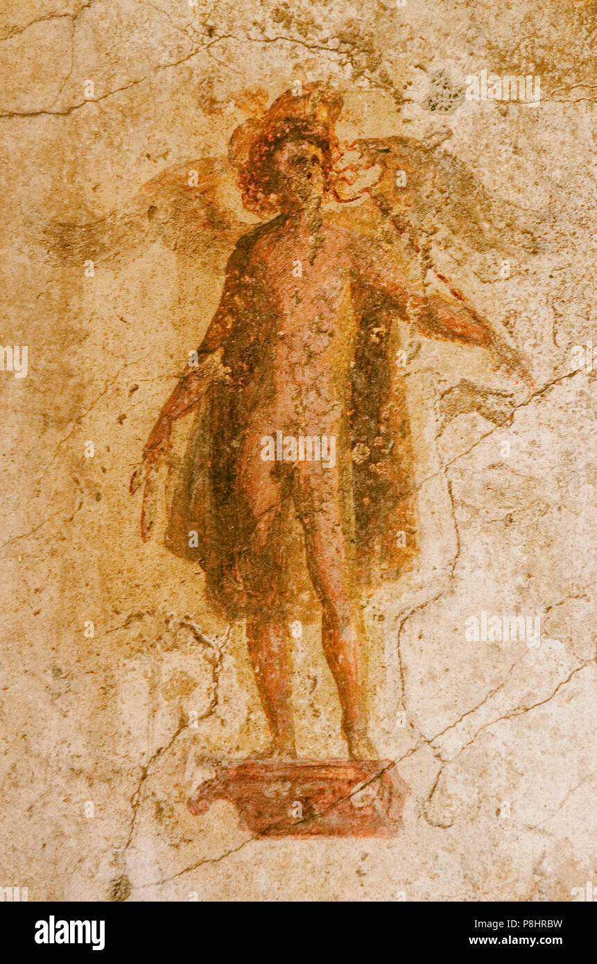 4505577eec7b fresco on the wall of the god Mercury in a house of the ancient Pompeii that