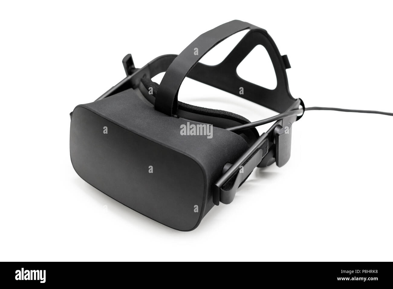 79f5a67d1e83 VR virtual reality headset half turned isolated on white background. Gaming  future device