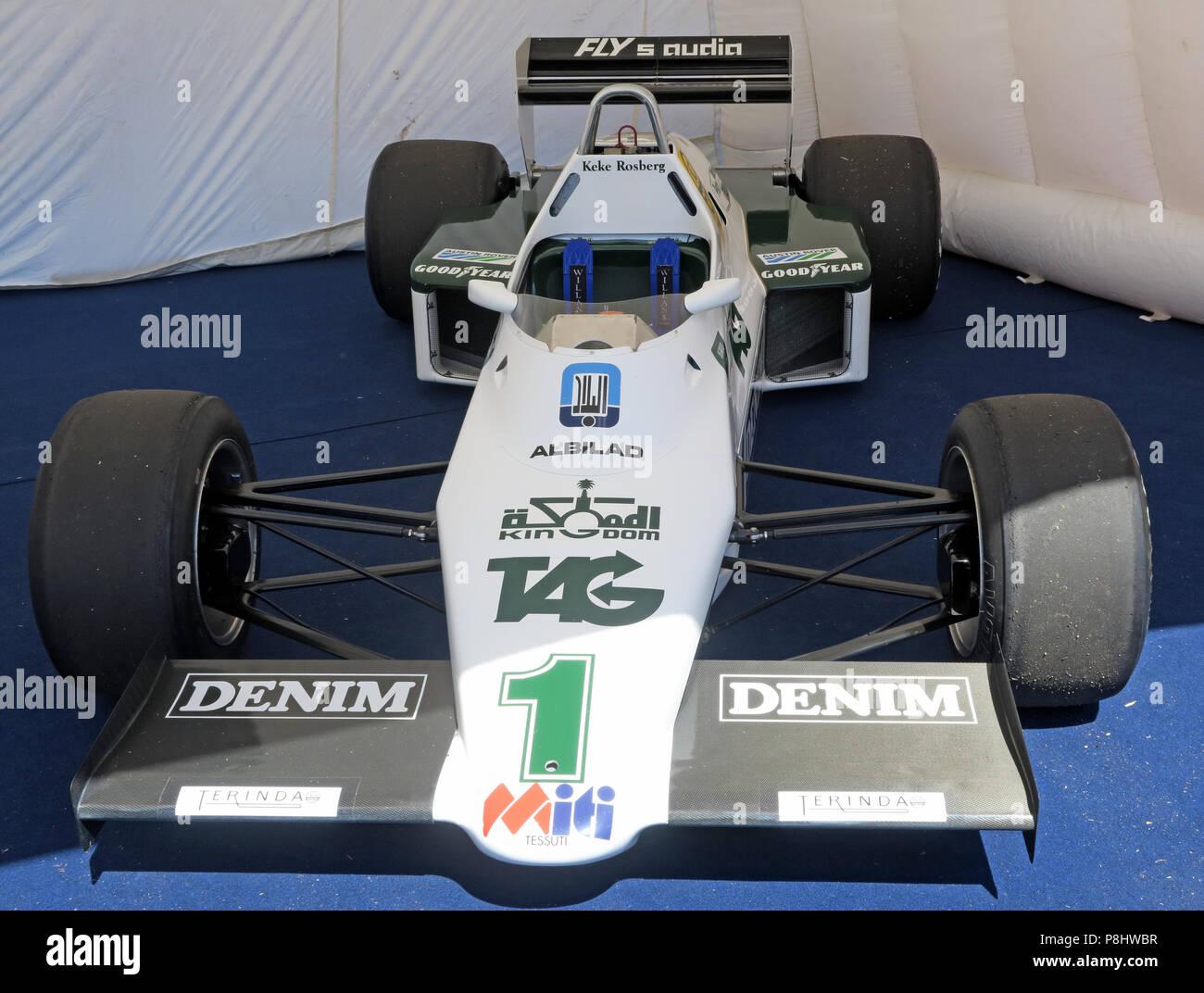 Keke Rosberg / Formula One F1 racing car, sponsored by Denim - Williams Cosworth FW08C driven by Ayrton Senna Stock Photo