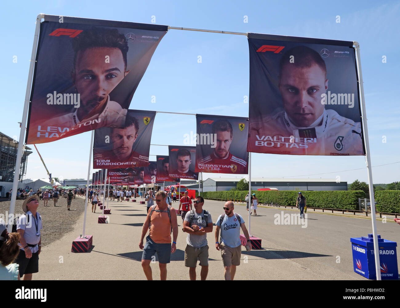 F1 driver images on flags, Silverstone circuit, Northampton, British Grand Prix 2018, England, UK Stock Photo