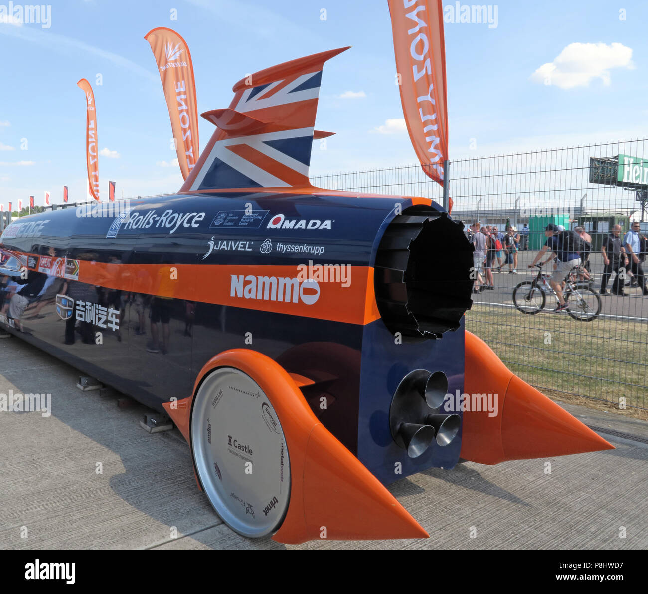 Bloodhound SSC jet car, now LSR, British supersonic land vehicle, at Silverstone racing circuit, UTC, Silverstone Circuit, Towcester ,England,NN12 8TL Stock Photo