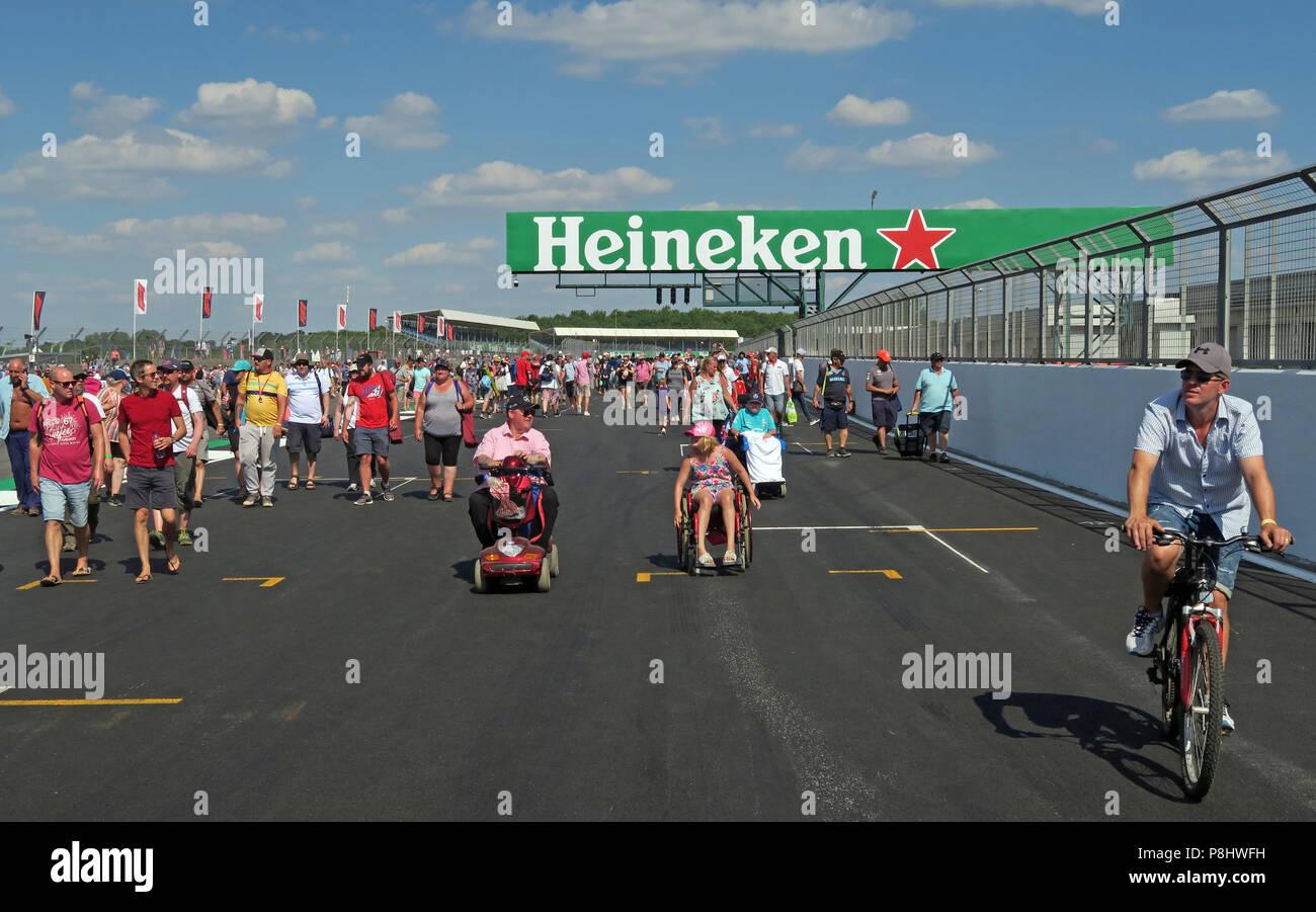 Heineken Lager Beer advertising at The British Grand Prix, trackside, Silverstone, Silverstone Circuit, Towcester, Northampton, England, UK,  NN12 8TL Stock Photo