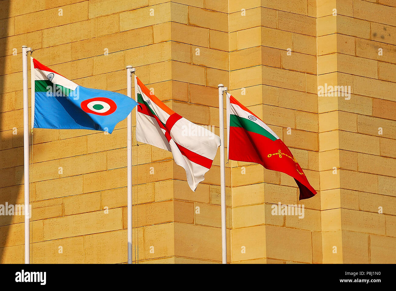 Flags of the three Armed Forces of India, India Gate, New Delhi, India Stock Photo