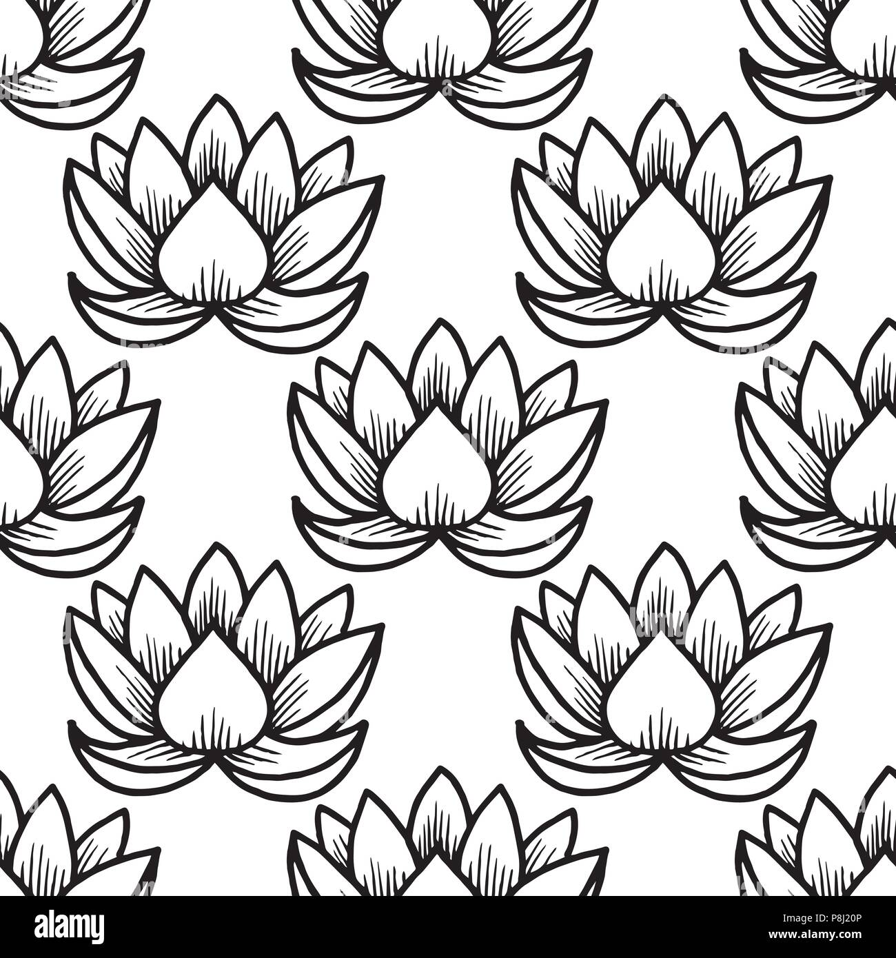 Lotus. Seamless pattern. Oriental Indian Chinese Traditional. White and black - Stock Image