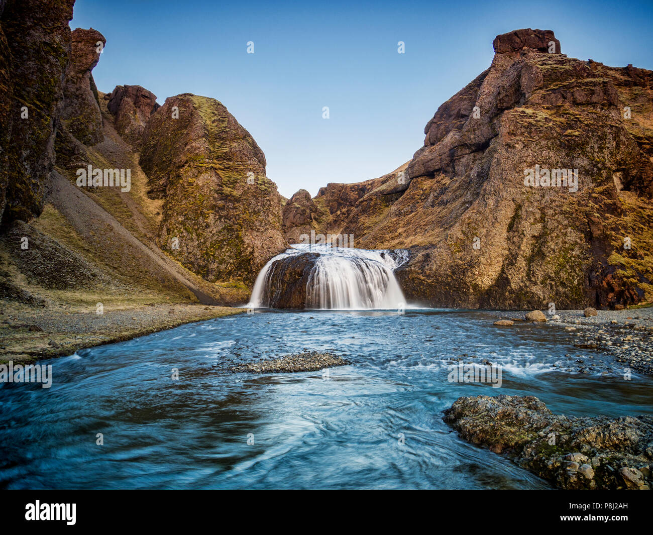 Stjornarfoss waterfall on the Stjorn River at Kirkjubaejarklaustur, in southern Iceland - Stock Image