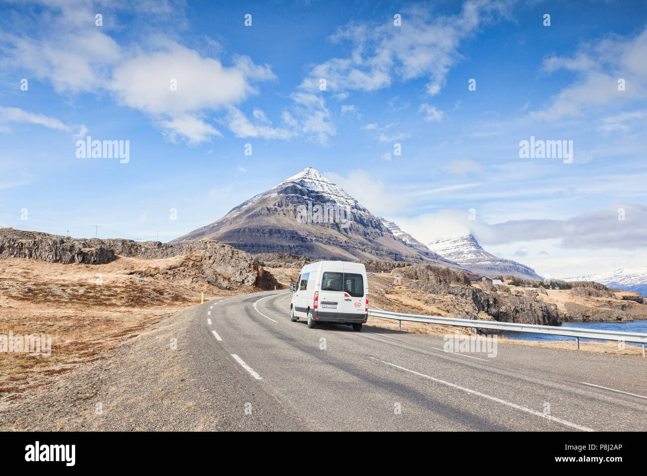28 April 2018: South Iceland - White van on the Iceland Ring Road. - Stock Image