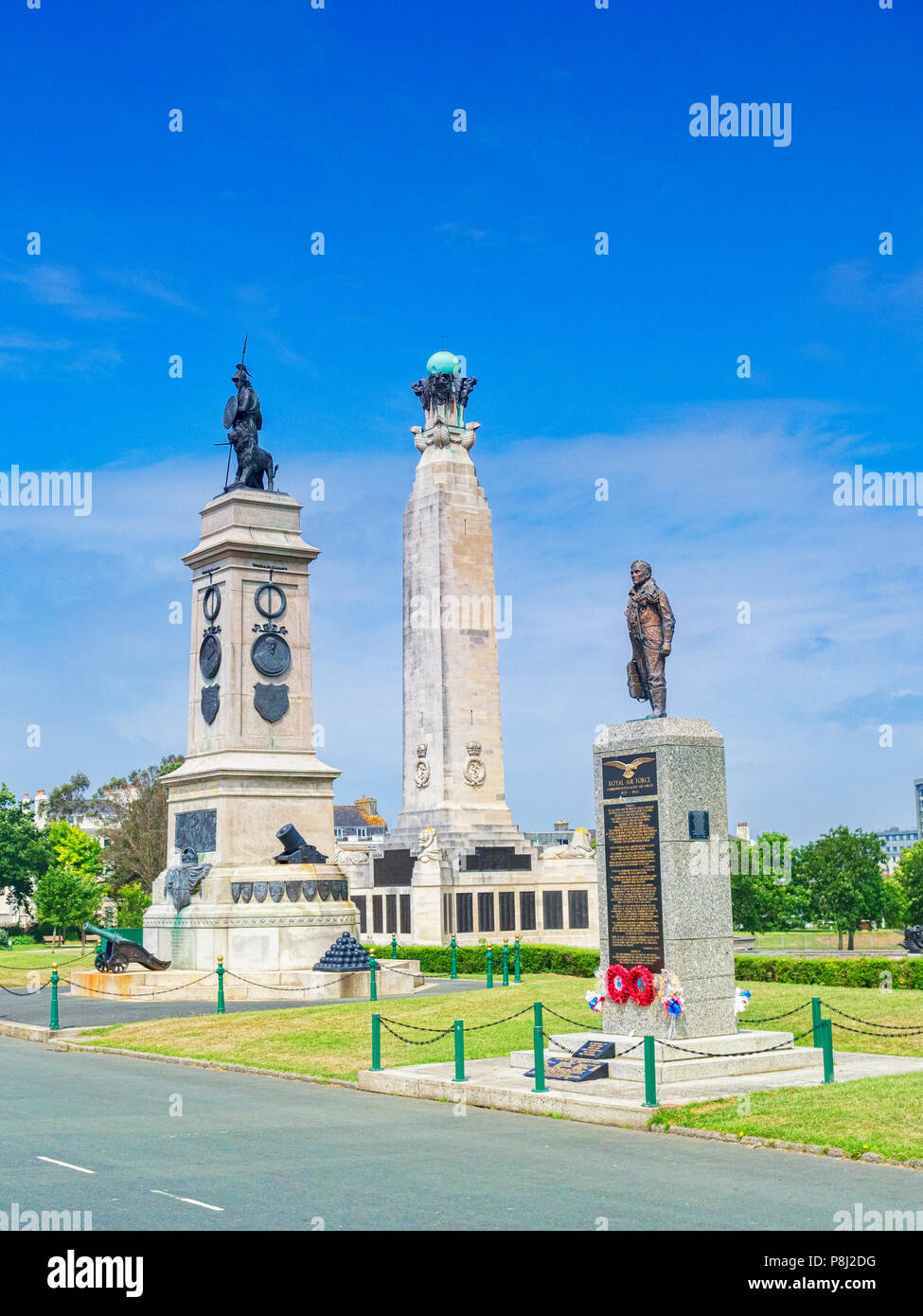 8 June 2018: Plymouth, Devon, UK - Monuments or war memorials on Plymouth Hoe - left to right, the Armada Monument, the Royal Navy Monument and the Ro - Stock Image