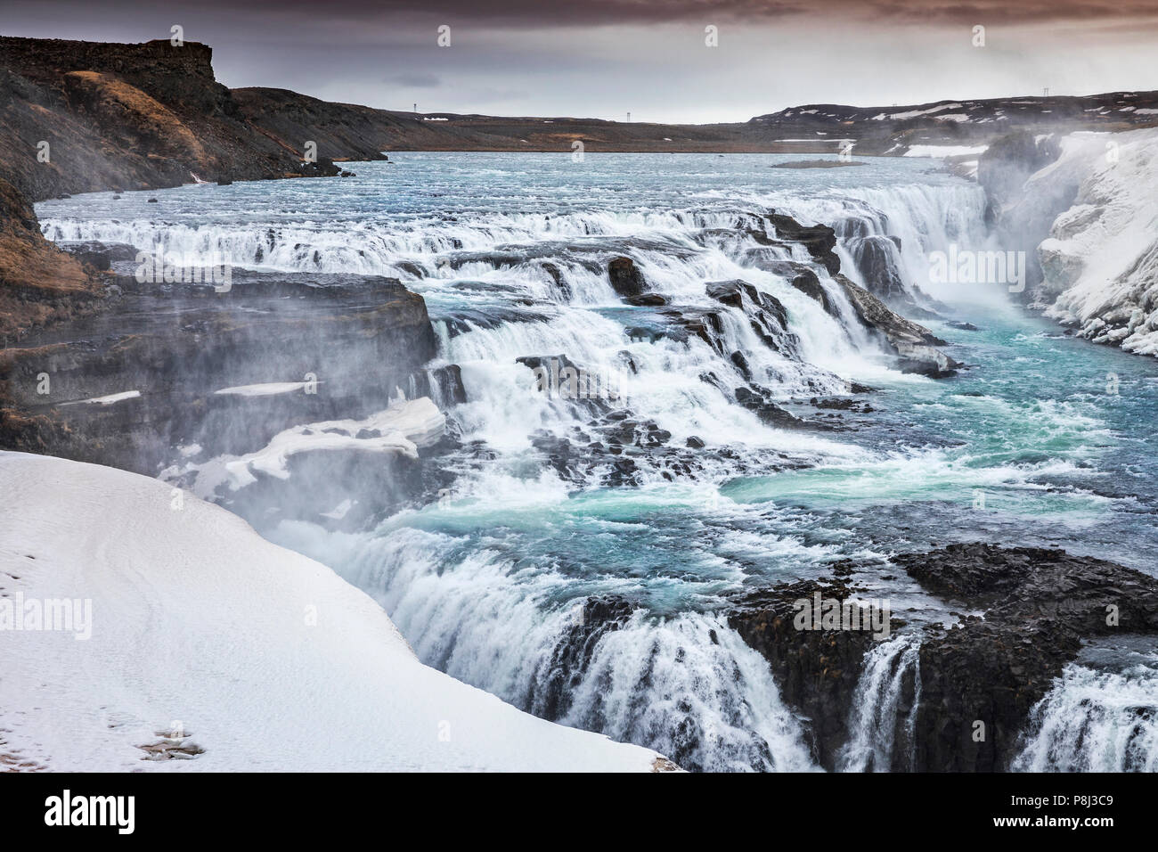 Gullfoss waterfall, Iceland - Stock Image