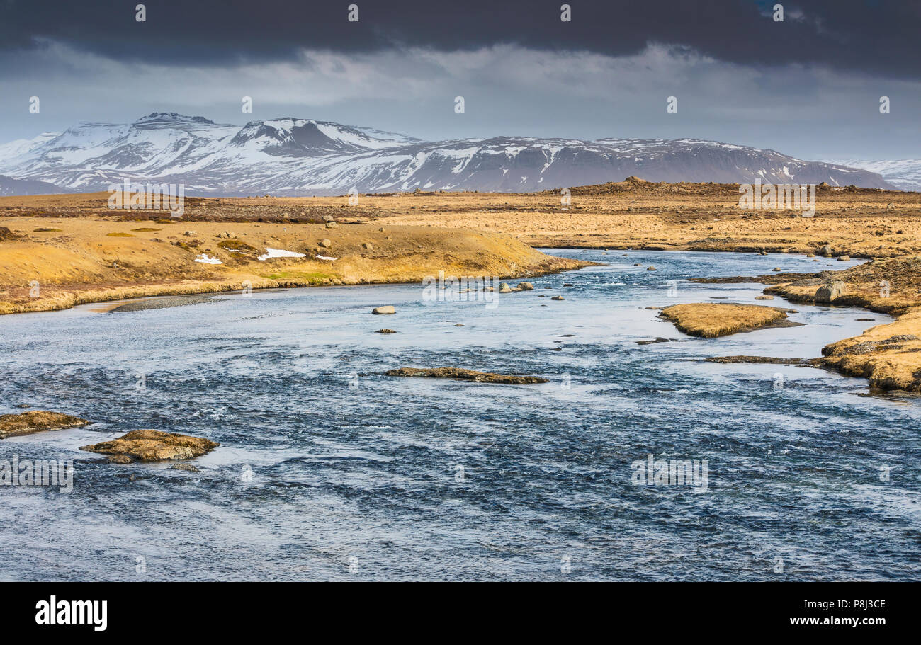 Iceland river nature landscape, (Baejarfell Mountain) Stock Photo
