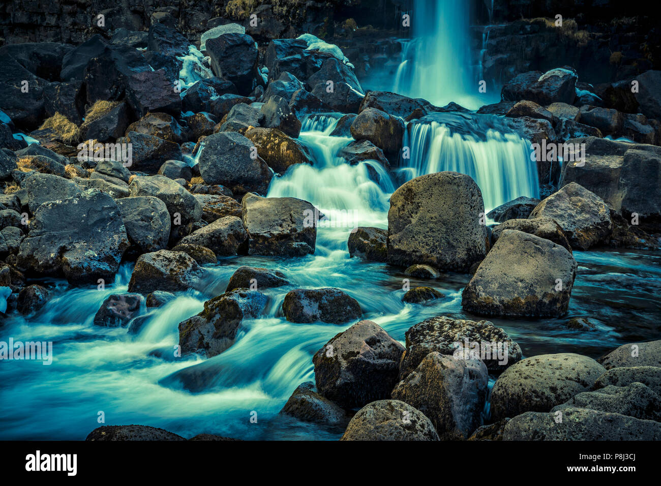 Green waterfall, Oxararfoss waterfall, Iceland - Stock Image
