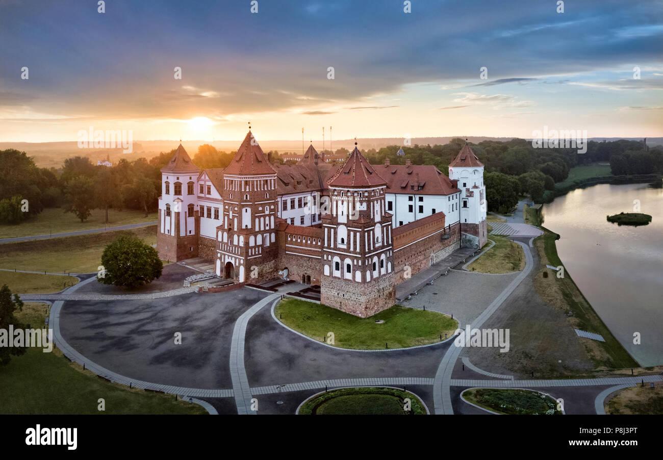 Aerial view of Mir Castle on sunrise, Belarus Stock Photo