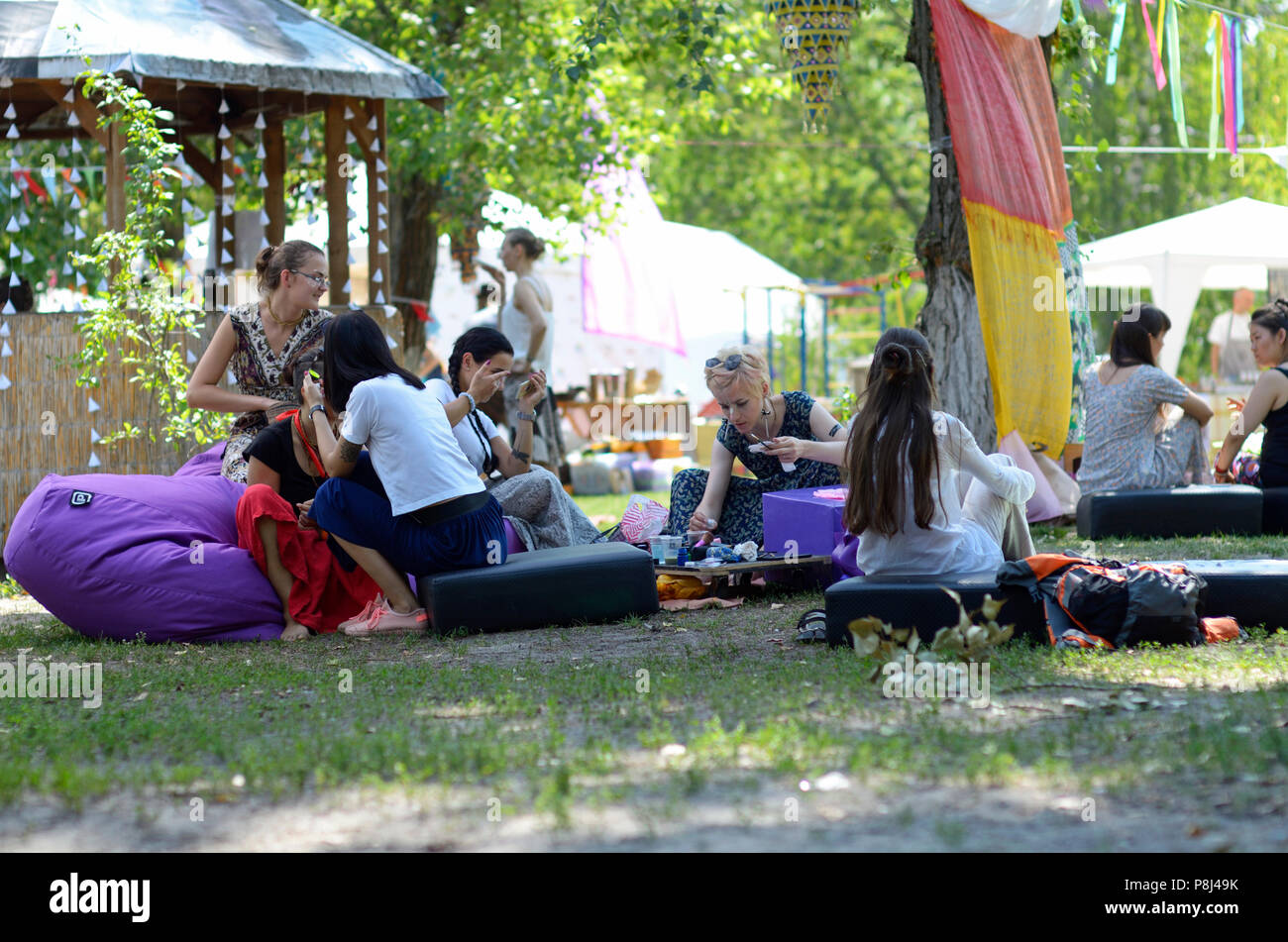 """Face art, tattooing. Festival of Yoga and Vedic Culture """"Vedalife-2017, Island"""". August 7, 2017. Kiev, Ukraine. - Stock Image"""