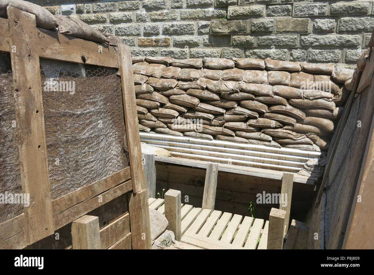 The First World War trench exhibit at Halifax Citadel National Historic Site allows you a realistic view of trench construction and living conditions - Stock Image