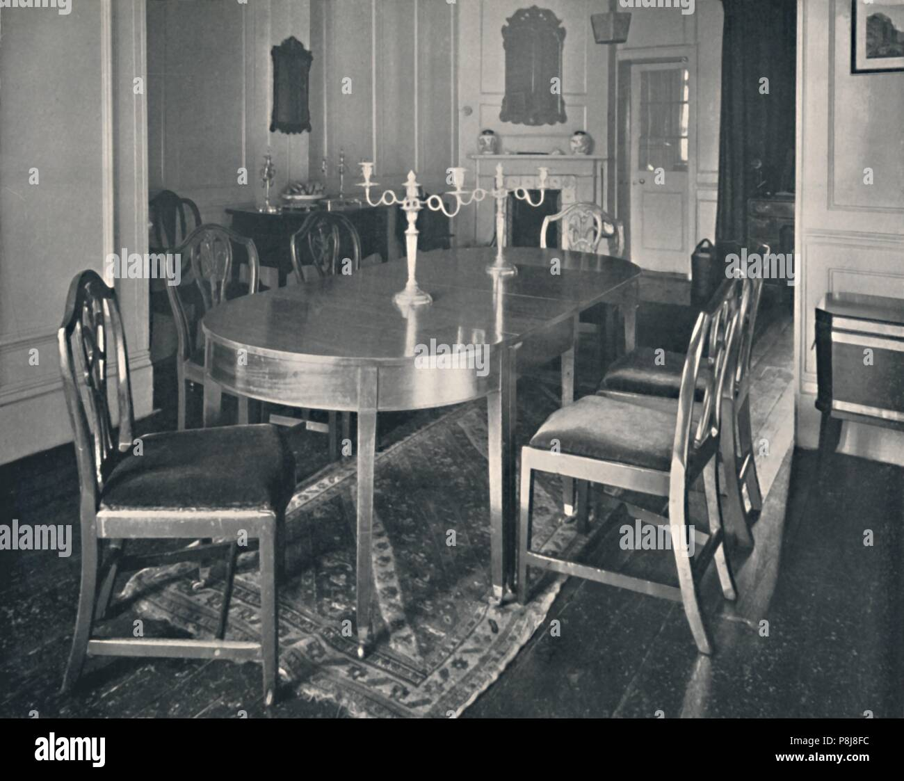 U0027Hepplewhite Mahogany Dining Room Furniture   Set Of Plumed Chairs With A  3 Piece Dining Table, About 1760 1770.u0027, 1928. From Old Furniture, Volume II