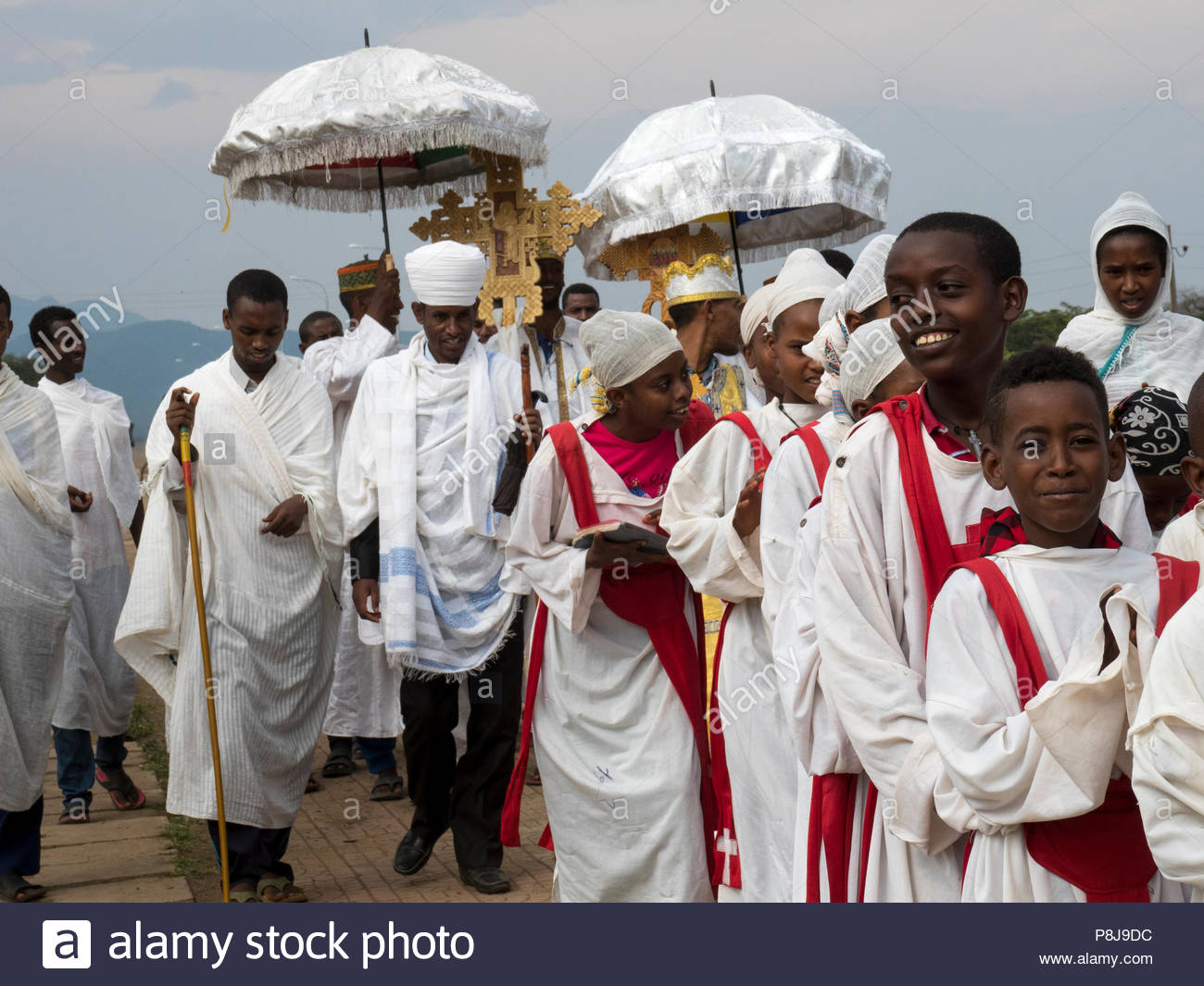 Procession at the Meskel Festival, Ethiopia - Stock Image