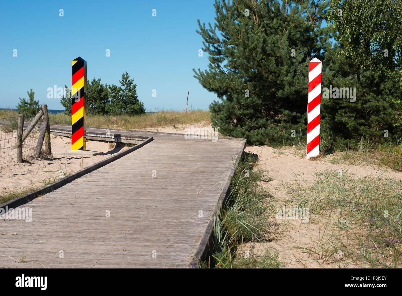 Boardwalk on the former death strip, border between Germany and Poland, Baltic Sea coast, Ahlbeck, Swinemünde, island Usedom Stock Photo