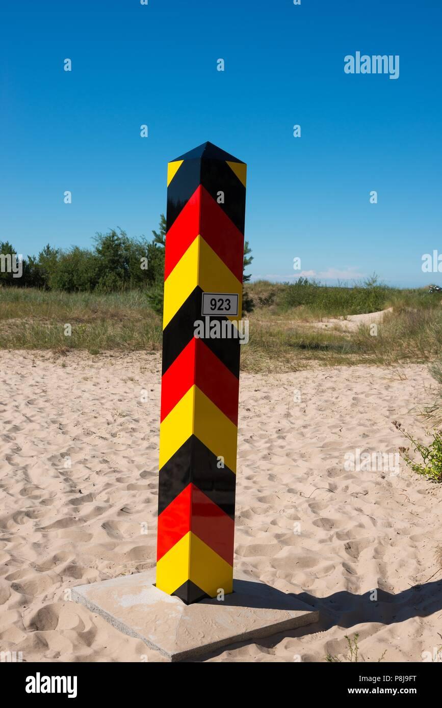 German border post, border between Germany and Poland, Baltic Sea coast, Ahlbeck, Swinemünde, island Usedom Stock Photo