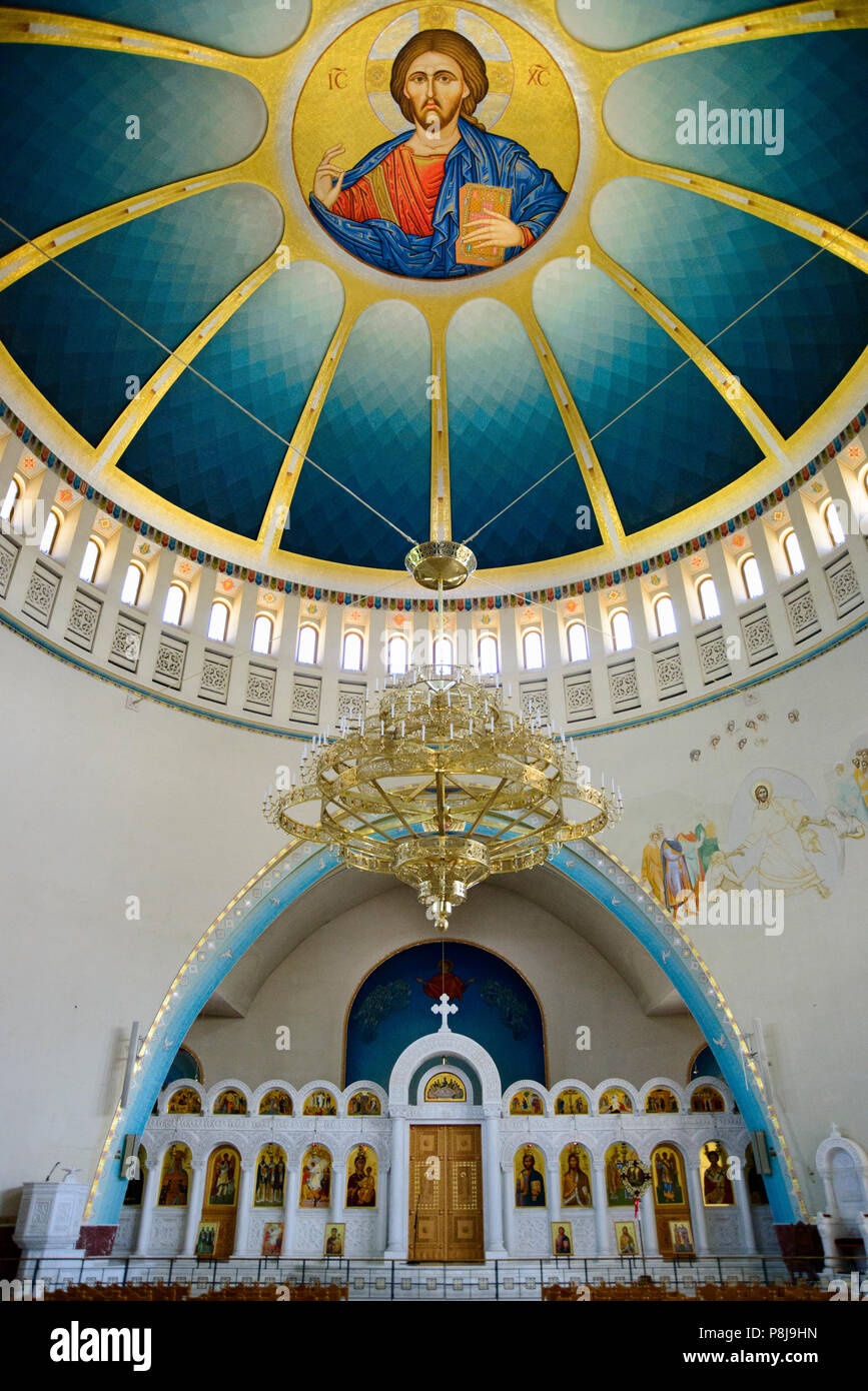 Interior view with dome, Orthodox Resurrection Cathedral, Tirana, Albania - Stock Image